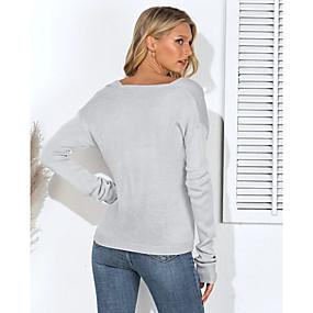 preiswerte Damenbekleidung-Damen Solide Langarm Lose Pullover Pullover Jumper, V-Ausschnitt Baumwolle Schwarz / Grün / Beige S / M / L