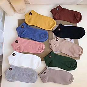 preiswerte Socken-10 Paare Damen / Mädchen Socken Mittel Cartoon Design Sport Simple Style Baumwolle EU36-EU42