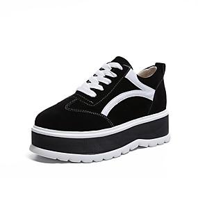 voordelige Damessneakers-Dames Sneakers Creepers Ronde Teen Satijn Klassiek Wandelen Lente & Herfst Zwart / Khaki