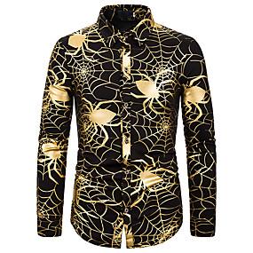 preiswerte Herrenmode-Herrn Blumen / Einfarbig / Solide - Geschäftlich / Elegant Hemd Gold