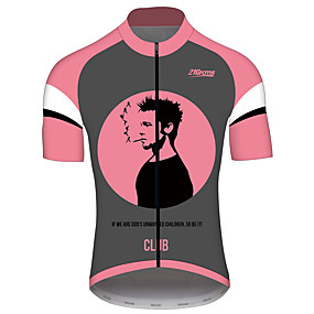 cheap Cycling & Motorcycling-21Grams Fight Club Movie Men's Short Sleeve Cycling Jersey - Pink Bike Jersey Top Quick Dry Breathable Reflective Strips Sports Summer 100% Polyester Mountain Bike MTB Road Bike Cycling Clothing