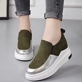 voordelige Damessneakers-Dames Sneakers Verborgen hiel Ronde Teen Suède / PU Brits Lente / Herfst winter Zwart / Wit / Groen / Kleurenblok