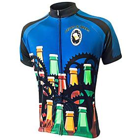 cheap Cycling & Motorcycling-21Grams Men's Short Sleeve Cycling Jersey Summer Bule / Black Oktoberfest Beer Bike Top Mountain Bike MTB Road Bike Cycling UV Resistant Quick Dry Moisture Wicking Sports Clothing Apparel / Race Fit
