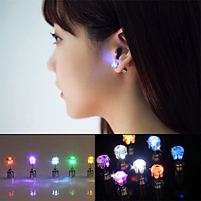 cheap Novelty Lights-2pcs LED Earring Light Up Crown Glowing Crystal Stainless Ear Drop Ear Stud Earring Jewelry for Dance/Xmas/KTV Party Women Girl