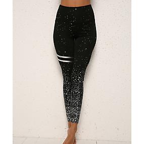preiswerte Damenbekleidung-Damen Alltagskleidung Grundlegend Legging - Druck, Druck Hohe Taillenlinie Silber Rosa Grau M L XL