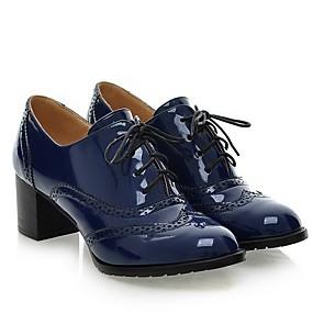 levne Dámské Oxfordky-Dámské Oxfordské Block Heel Oblá špička Lakovaná kůže Podzim Černá / Burgundská fialová / Modrá