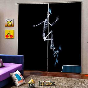 preiswerte Vorhänge und Gardinen-Halloween-Thema-Skateboardskelett-Hintergrundvorhang-Verdunkelungsrauchvorhang der thailändischen Art glücklicher für Schlafzimmer / Wohnzimmer