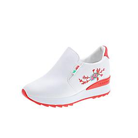voordelige Damessneakers-Dames Sneakers Verborgen hiel Ronde Teen PU Zoet / minimalisme Lente zomer / Herfst winter Zwart / Wit / Rood / Feesten & Uitgaan