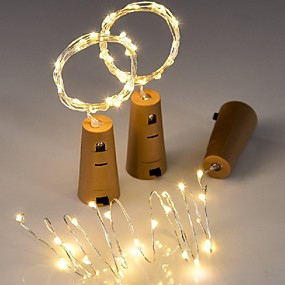 cheap Light Strips & Strings-3pcs 20LED 2M Copper Wire Bottle Stopper String Lights for Glass Craft Bottle Fairy Valentines Wedding Decoration Party