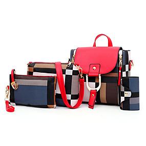 preiswerte Taschen-Damen Reißverschluss PU Bag Set Einfarbig 4 Stück Geldbörse Set Schwarz / Braun / Rote