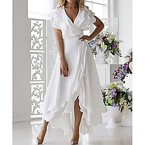cheap Lightning sale-Women's Plus Size Vacation Sexy A Line Dress - Solid Colored Ruffle Wrap V Neck Spring Light Blue White Blushing Pink S M L XL