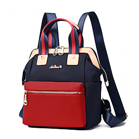 ราคาถูก Bags-Large Capacity ผ้าออกซ์ฟอร์ด ซิป กระเป๋าเป้สะพายหลัง สีทึบ ทุกวัน สีดำ / สีน้ำเงิน / ทับทิม