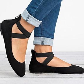 voordelige Damesschoenen met platte hak-Dames Platte schoenen Platte hak Ronde Teen Gesp Suède Zomer Zwart / Luipaard / Bruin