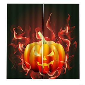 preiswerte Vorhänge und Gardinen-Verdunkelungswärmedämmendes Loch geben Installationsvorhänge 3d Digitaldruck Halloween sie brennender Kürbislampenwand-Hintergrundvorhang frei