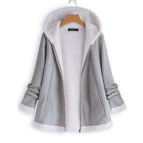 Недорогие Распродажа-Жен. Куртка Обычная Однотонный Повседневные Розовый Винный Хаки S M L
