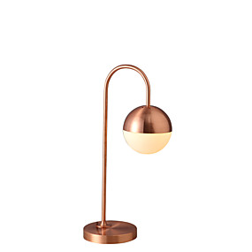 رخيصةأون إضاءات مميزة-المعدنية الحديثة المعاصرة المحيطة الديكور مصباح طاولة مكتب الكرة الزجاجية المعدنية مع جولة زجاج الظل لجدول القهوة