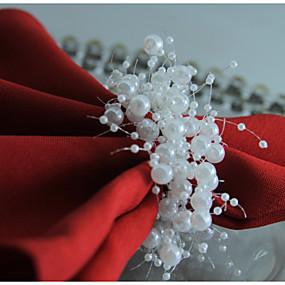 preiswerte Servietten-Ring-Klassisch Kunststoff arylic Kreisförmig Servietten Ring Solide Blume Tischdekorationen 12 pcs