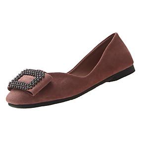voordelige Damesschoenen met platte hak-Dames Platte schoenen Platte hak Vierkante Teen Strass PU Informeel Lente Zwart / Roze / Beige