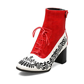 billige Mote Boots-Dame Støvler Trykk sko Blokker hælen Rund Tå PU Ankelstøvler Vintage / Chinoiserie Høst vinter Svart / Rød / Blå