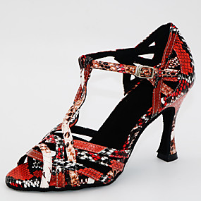 ราคาถูก Dance Shoes-สำหรับผู้หญิง รองเท้าเต้นรำ PU ลาติน ส้น ส้นป้าน ตัดเฉพาะได้ แดง-ดำ / Black / Green / เงิน / ดำ / หนังสัตว์ / ฝึก