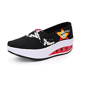 voordelige Damesinstappers & loafers-Dames Loafers & Slip-Ons Sleehak Ronde Teen Canvas Informeel Zomer Zwart / Donkerblauw