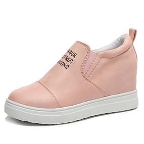voordelige Damessneakers-Dames Sneakers Verborgen hiel Ronde Teen Suède Informeel / Brits Wandelen Lente / Herfst winter Zwart / Blauw / Roze / leuze