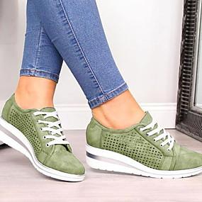 voordelige Damessneakers-Dames Sneakers Platte hak Ronde Teen PU Zomer Zwart / Groen / Blauw