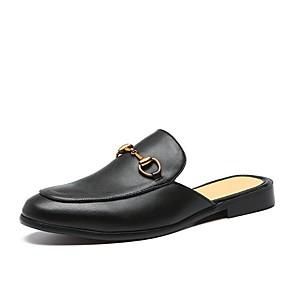 cheap Men's Clogs & Mules-Men's Leather Shoes Leather Summer Clogs & Mules Black
