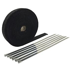billige Tilbehør til eksteriør-5 m * 2 ruller - glassfiber eksoshodeomslag 5 cm bred 5 lengde motorsykkelrørs varmebeskyttelsestape - svart lengde (m) -5 m * 2 ruller