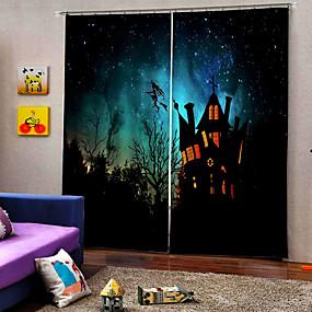 preiswerte Vorhänge und Gardinen-Luxus Happy Halloween Thema flog die Hexe über das Schloss Hintergrund Vorhang 3d Digtal Druck Blackout Fenster Vorhänge nach Maß fertig