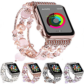 cheap Smartwatch Bands-Fashion Watchband For Apple Watch Band 44mm/40mm/38mm/42mm Bling Women Agate Beads Strap Bracelet Band For Apple Watch Series 6 SE 5 4 3 2 1  For Girls