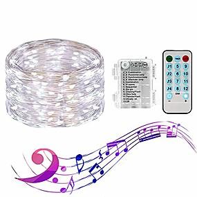 preiswerte Haus & Garten-Loende Sound aktiviert Lichterketten 4 Musikmodi 8 Beleuchtungsmodi 10m 100 LED Funkeln Lichter wasserdicht mit Fernbedienung für DIY Hochzeitsfest