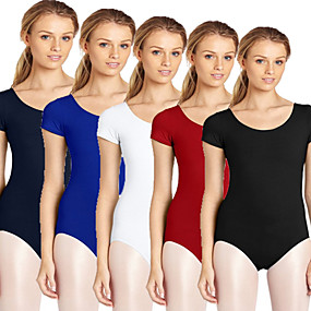 cheap Yoga & Fitness-Women's Scoop Neck Ballet Leotard Tank Leotard Classic Solid Color White Black Red Royal Blue Cyan Gym Workout Ballet Dance Spandex Bodysuit Short Sleeve Sport Activewear High Elasticity Breathable