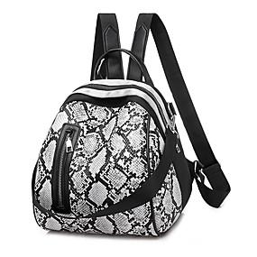 ราคาถูก Bags-Large Capacity PU ซิป กระเป๋าเป้สะพายหลัง หนังงู ทุกวัน ผ้าขนสัตว์สีธรรมชาติ / สีเทา