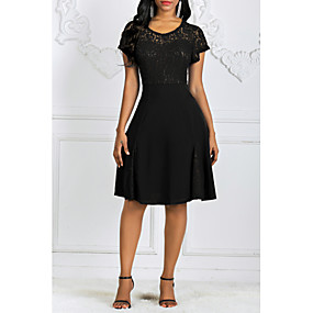 preiswerte Damenbekleidung-Damen Übergrössen Grundlegend Spitze Schlank Hülle Kleid Solide Midi