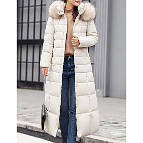 preiswerte Damenbekleidung-Damen Solide Daunenjacke, Polyester Schwarz / Weiß / Armeegrün M / L / XL