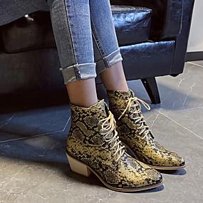billige Mote Boots-Dame Støvler Tykk hæl Spisstå Fuskelær Støvletter Britisk Vår / Høst vinter Svart / Gul / Rød