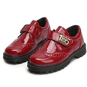 ราคาถูก Kids' Oxfords-เด็กผู้หญิง ความสะดวกสบาย PU รองเท้า Oxfords เด็กน้อย (4-7ys) สีดำ / แดง ฤดูร้อน