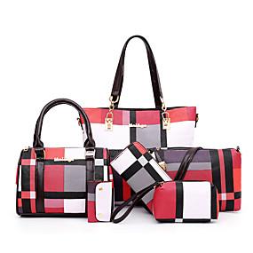 preiswerte Taschen-Damen Reißverschluss PU Bag Set Geometrische Muster 5 Stück Geldbörse Set Schwarz / Braun / Blau / Herbst Winter