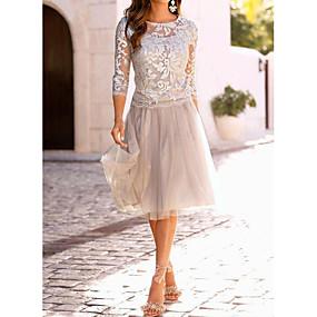 preiswerte Ausverkauf-Damen Elegant Spitze A-Linie Kleid - Spitze, Solide Knielang / Schlank