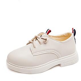 ราคาถูก Kids' Oxfords-เด็กผู้ชาย / เด็กผู้หญิง รองเท้าคอมแบท PU รองเท้า Oxfords เด็กน้อย (4-7ys) ขาว / สีดำ ฤดูร้อน