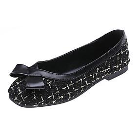 voordelige Damesschoenen met platte hak-Dames Platte schoenen Platte hak Vierkante Teen Strik Tricot / Linnen minimalisme Lente & Herfst Zwart / Beige