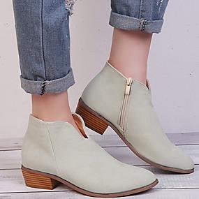 billige Mote Boots-Dame Støvler Trykk sko Flat hæl Spisstå Semsket lær Ankelstøvler Høst vinter Svart / Mandel / Leopard