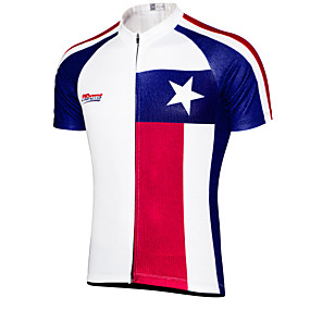 cheap Cycling & Motorcycling-21Grams Men's Short Sleeve Cycling Jersey Summer Sky Blue+White Texas National Flag Bike Top Mountain Bike MTB Road Bike Cycling UV Resistant Quick Dry Moisture Wicking Sports Clothing Apparel