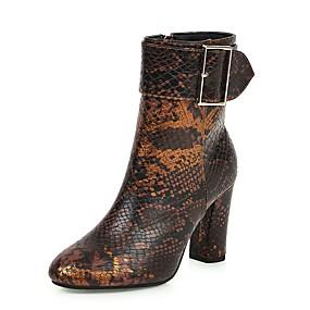 billige Mote Boots-Dame Støvler Tykk hæl Rund Tå PU Klassisk / minimalisme Sommer / Høst vinter Mørkebrun / Beige