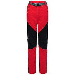 cheap Camping, Hiking & Backpacking-Women's Hiking Pants Trousers Softshell Pants Patchwork Winter Outdoor Thermal Warm Waterproof Windproof Quick Dry Pants / Trousers Bottoms Yellow Red Black Grey Orange Hunting Ski / Snowboard Fishing