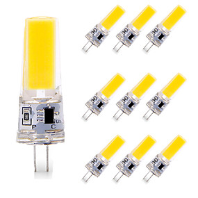 cheap Dimmable Bulbs-10pcs 6 W LED Bi-pin Lights 600 lm G4 T 1 LED Beads COB Dimmable Warm White White 110-120 V