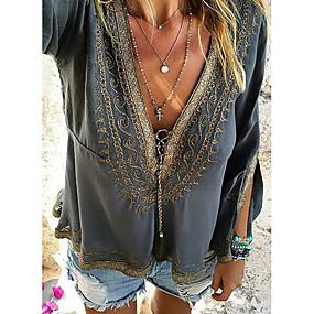 preiswerte Damenbekleidung-Damen Solide - Street Schick T-shirt, V-Ausschnitt Dunkelgray