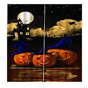 preiswerte Vorhänge und Gardinen-Blackout staubdicht 100% Polyester Vorhänge 2019 neue 3D-Druck Vorhang fertige Happy Halloween Thema Hintergrund Vorhang