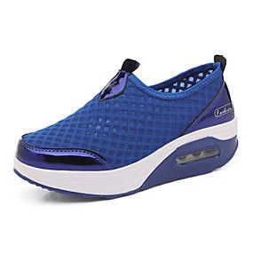 voordelige Damessneakers-Dames Sneakers Speciale hak Ronde Teen Netstof Informeel Lente zomer Zwart / Marine Blauw / Roze